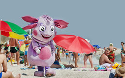 Live toy - Luntik. Azov sea beach village Kirillovka, Ukraine. 2013 Stock Photography
