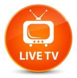 Live tv elegant orange round button Stock Photography
