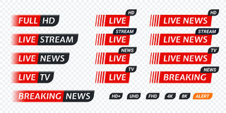 Live stream TV news tag icon. Video symbol live broadcasting. Live TV news red tag icon with video symbol of live broadcasting, full hd, live stream. Black tag Royalty Free Stock Photo