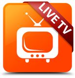 Live tv orange square button red ribbon in corner. Live tv isolated on orange square button with red ribbon in corner abstract illustration Stock Photography