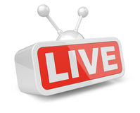Live TV - white with red 3d sign. Stock Images