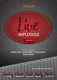 Live Unplugged Music flyer or banner with denim background.   Stock Photo