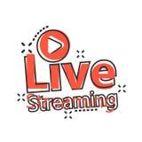 Live - Video-Ikone in der komischen Art Strömen der Fernsehvektor-Karikaturillustration auf weißem lokalisiertem Hintergrund Send lizenzfreie abbildung