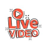 Live - Video-Ikone in der komischen Art Strömen der Fernsehvektor-Karikaturillustration auf weißem lokalisiertem Hintergrund Send vektor abbildung