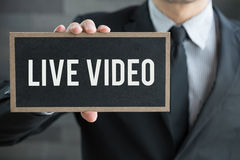 Live video, message on blackboard and hold by businessman Royalty Free Stock Image