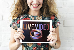Live Video Multimedia Player Graphic-Konzept stockbilder