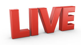LIVE. Volumetric red inscription LIVE  on a white background Stock Photo