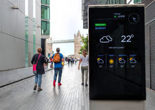Live Weather Forecast Updates On Public Screen, Tower Bridge London Royalty Free Stock Images