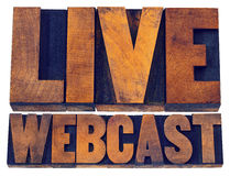 Live webcast sign in wood type Royalty Free Stock Photography