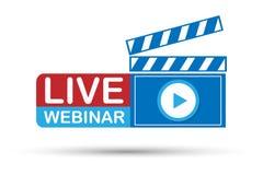 Live Webinar Button auf weißem Hintergrund Vektorauf lagerabbildung Lizenzfreie Stockfotos