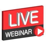 Live webinar 3D button. Sign live web cast, the vector air webinar online Royalty Free Stock Image