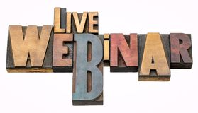 Live webinar - word abstract in wood type Royalty Free Stock Images