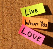 Live what you love!. Sticky notes forming text - live what you love stock images