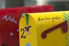 Live where you love - a painted decorative mailbox royalty free stock photos