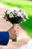 Live white butterfly on wedding bouquet Royalty Free Stock Photo