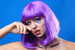 Live  Women Turned Comic Strip Characters With Make Up Stock Images
