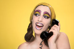 Live  Women Turned Comic Strip Characters With Make Up Royalty Free Stock Image