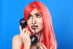 Live  Women Turned Comic Strip Characters With Make Up Royalty Free Stock Photos