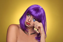 Live  Women Turned Comic Strip Characters With Make Up Stock Photo