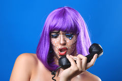Live  Women Turned Comic Strip Characters With Make Up Stock Image