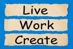 Live Work Create stock foto