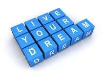 Live your dream. Illustrated letter cubes with conceptual message - live your dreams Royalty Free Stock Images