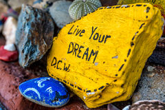 Live Your Dream. On painted rocks royalty free stock images