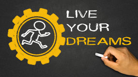 Live your dream. Person running in gear wheel on blackboard background Royalty Free Stock Image