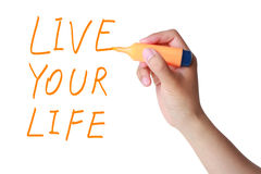 Live your life. Hand writing Live your life isolated on white background Stock Photos