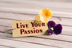 Live your passion tag. Tag banner live your passion and violet flower on wooden desk Royalty Free Stock Images