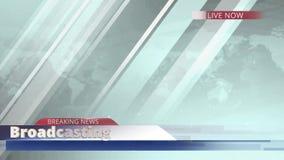 Liveberichts-Darstellungstitel der Animationsletzten nachrichten für Fernsehen oder Medienprogrammsendung mit Weltkartehintergrun vektor abbildung