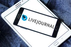 LiveJournal Social networking service logo. Logo of LiveJournal on samsung mobile. LiveJournal is a Russian social networking service where users can keep a blog stock images