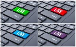 Liveknopf auf Computertastatur stockfoto