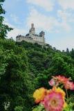 Livello del castello di Marksburg su una collina sulla valle del Reno immagine stock