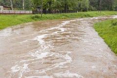 Livello dell'alta marea in fiume - Zielona, Kalety, Polonia, Europa. Fotografie Stock