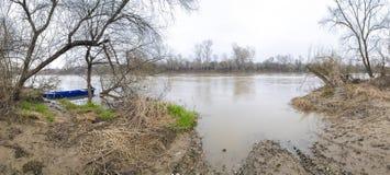 Livello serbo dell'alta marea di Velika Morava del fiume Fotografia Stock Libera da Diritti
