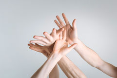 Lively athletes hands showing grace in the studio Royalty Free Stock Images