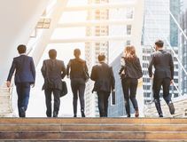Group of Business People Running in Row stock photography