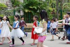 Lively children visit grandee Stock Photos