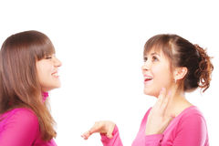 Lively discussion. Two young women in pink at lively discussion against white background Royalty Free Stock Photos