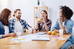 Lively passionate witty people enjoying a group chat. Building friendship. Group of charming positive outgoing colleagues telling some jokes and laughing Stock Photo