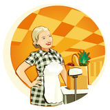 Lively Shop Assistant. Vector illustration of a funny saleswoman Stock Photo
