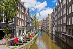 Lively street in the heart of Amsterdam, Netharlands Stock Photo