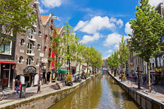Lively street in the heart of Amsterdam, Netharlands Royalty Free Stock Photo