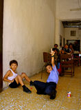 Lively students of elementary school, Colombia stock photo