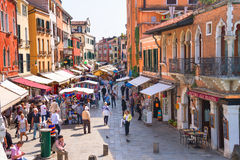 Lively trading in the market one of streets of Venice, Italy Royalty Free Stock Images