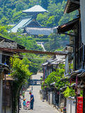 Lively uphill street in Japan Stock Photography