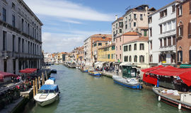 Lively Venice grand canel with beautiful building Stock Images