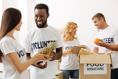 Lively volunteers having a pleasant day in the office Royalty Free Stock Image