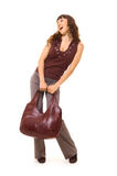 Lively woman with bag. Lively woman with brown bag. isolated on white Stock Image